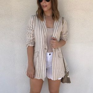 Tan & White Linen Blazer